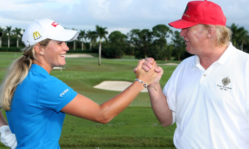 GODE VENNER: Suzann Pettersen  har kjent Donald Trump lenge. I natt gratulerte hun ham med valgseieren i USA. Foto: Scott Halleran / Getty Images / AFP / NTB Scanpix