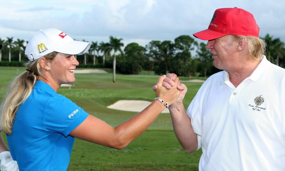 VENNER: Suzann Pettersen har holdt kontakten med Donald Trump etter at han ble USAs president. Foto: Scott Halleran / Getty Images / AFP / NTB Scanpix