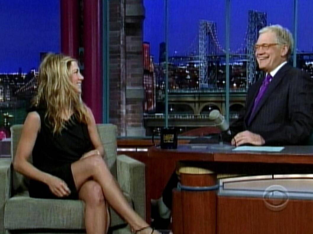 <strong>HUSKET IKKE NAVNET:</strong> Jennifer Aniston sa til programlederen David Letterman at hun ikke husket navnet på David Schwimmers kommende brud. Det fikk hennes tidligere «Friends»-kjæreste til å bryte all kontakt, ifølge Daily Mail. Foto: All Over Press
