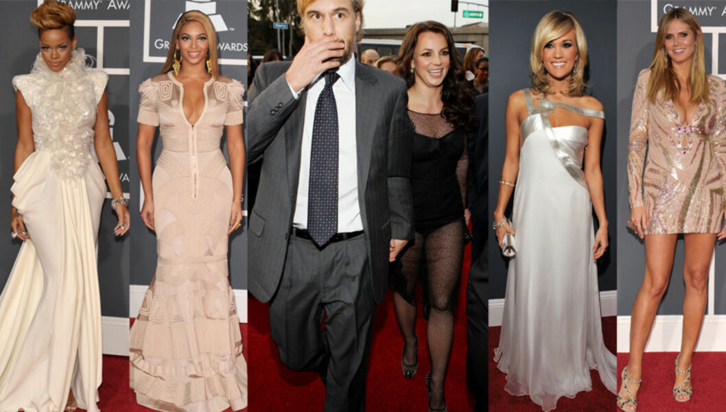 SKJØNNHETENE OG KLESKATASTROFEN: Grammy-utdelingen var som vanlig en glamorøs kveld i Hollywood og stjerner som Rhianna, Beyonce, Carrie Underwood og Heidi Klum strålte i sine vakre kjoler. Britney Spears derimot slaktes for sitt antrekk, og selv henne Foto: All over press