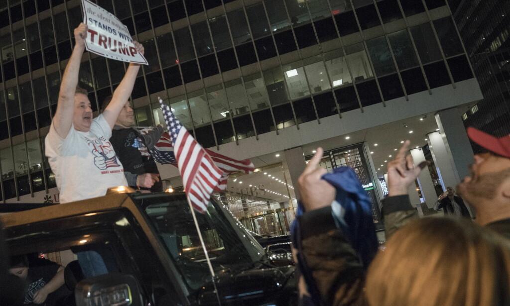 FEIRET: Donald Trumps supportere tok til gatene i New York for å feire republikanernes valgseier. Foto: Øistein Norum Monsen / Dagbladet