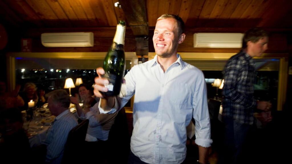 GULLFEST I AUSTRALIA: Thor Hushovd feiret VM-gullet med stil, sammen med lagkamerater, venner og sponsorer. Foto: Heiko Junge/SCANPIX