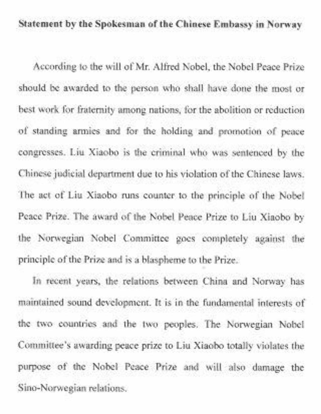 KRASST UTFALL: Ambassaden legger ikke fingrene imellom i sin offisielle uttalelse om fredspristildelingen. Faksimile: Uttalelsen fra den kinesiske ambassaden i Norge.