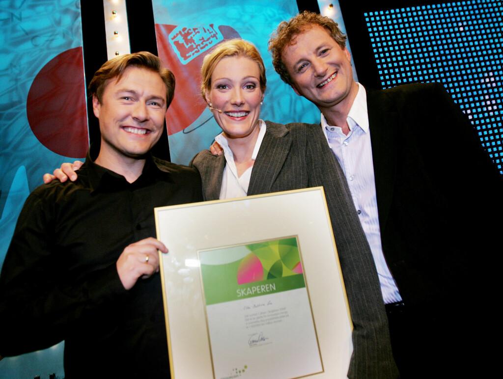 Ellen Kathrine Lie vant TV2-konkurransen Skaperen i 2006. Nå tjener hun mye mer enn de to hun her er avbildet sammen med, Idar Vollvik og Frithjof Wilborn. Foto: SCANPIX