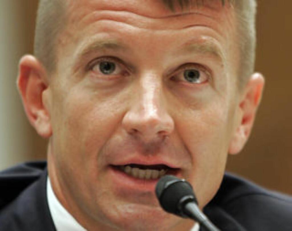 SIKRET SEG BIT AV KAKA: Blackwater-boss Erik Prince. Han har varslet at han vil flytte til Abu Dhabi for å slippe medietrykket i USA. Foto: AP/Scanpix