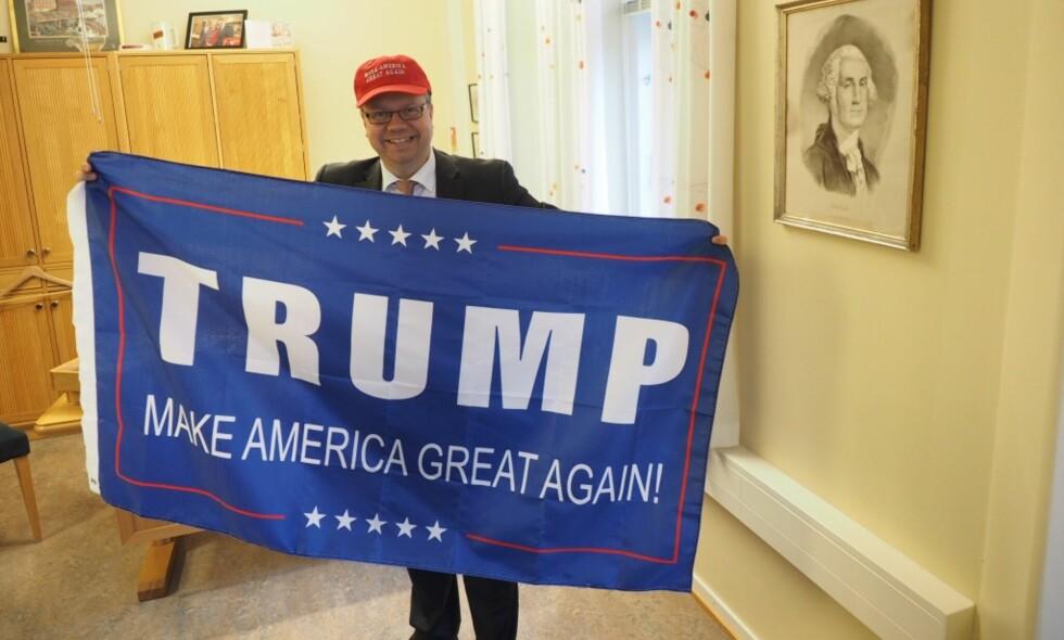 VANT: Ulf Lerstein støttet Trump og var hoppende fornøyd da hotellkongen vant valget. Foto: Arne Petter Lorentzen, Frp