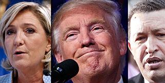image: Plasserer Trump sammen med Marine Le Pen og Hugo Chávez