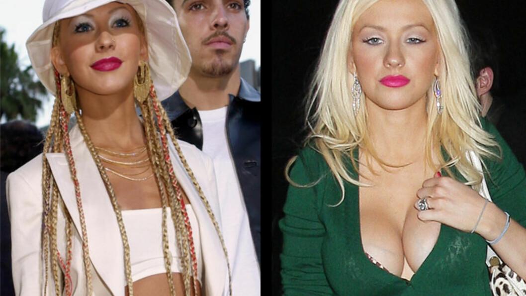 FØR OG ETTER: Christina Aguilera gikk fra en C-cup til en E-cup etter fødselen. Hun er ikke lite imponert. Foto: All Over Press