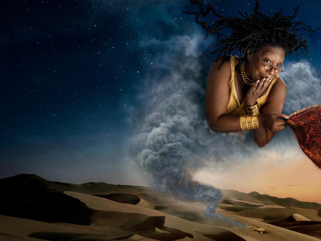 ÅNDEN I FLASKEN: Whoopi Goldberg som ånden i flasken. Foto: AP