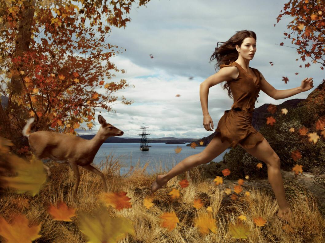 POCAHONTAS: Den vakre skuespilleren Jessica Biel som Pocahontas. Foto: AP