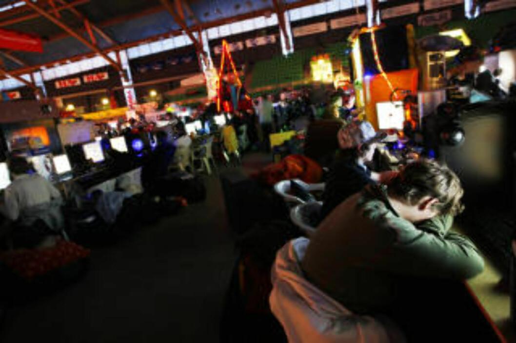 """DATAFEST: I Norge samles over 5 000 datafrelste seg hvert år for å spille dataspill. Arrangementet er et av verdens største. Det største skal angivelig skje årlig i Sverige, på """"Dreamhack"""". Foto: Håkon Mosvold Larsen / SCANPIX ."""