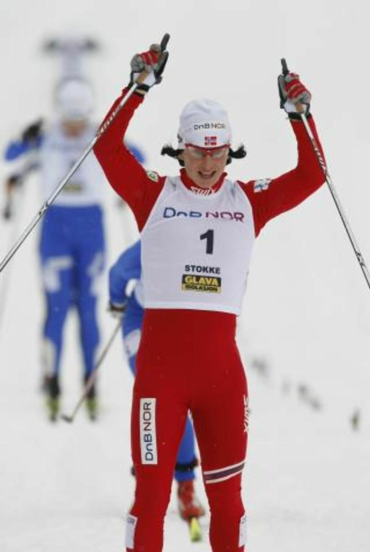 VANT KVINNEFINALEN: Marit Bjørgen utklasset konkurrentene. Foto: Erlend Aas / Scanpix