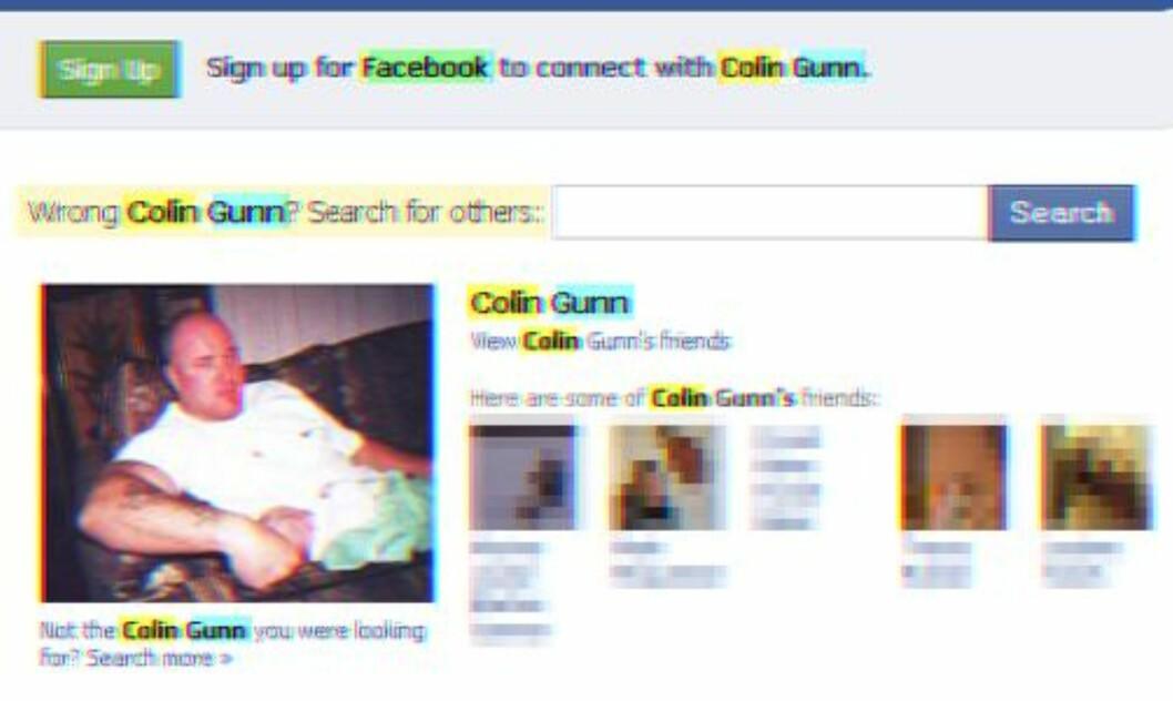 <strong>PROFILEN SLETTET:</strong> Her er en bufret versjon av den slettede profilen til Colin Gunn på Google.