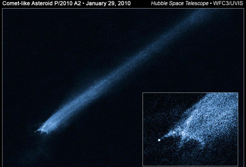 SUPERSMELL: Disse Hubble-bildene viser trolig to asteroider som har kollidert i en hastighet opptil fem kilometer per sekund. Dette er aldri før blitt observert. Foto: NASA/ESA/Z. Levay (STScI)