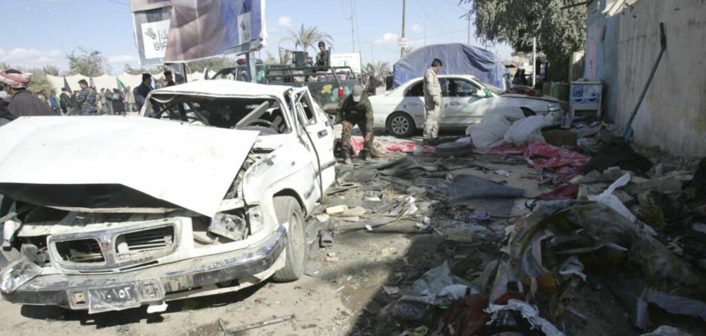 TRE ANGREP DENNE UKA: Minst 31 personer ble drept og 95 såret da to bilbomber gikk av i Kerbala i Irak i dag. Foto: REUTERS/SCANPIX