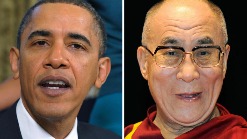 OMSTRIDT MØTE: USAs president Barack Obama møter tibetanernes åndelige leder Dalai Lama i Det hvite hus neste uke, trass store protester fra Kina. Foto: AFP PHOTO/MANDEL NGAN/TORU YAMANAKA/SCANPIX