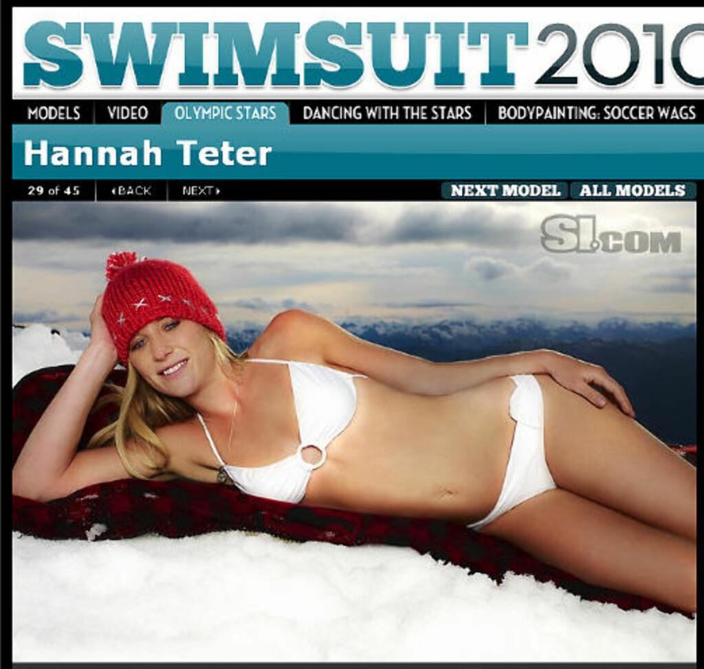 I SPORTS ILLUSTRATED: Hannah Teter poserer i bikini i Sports Illustrated, noe som har skapt reaksjoner i USA. Faksimile: SI.COM