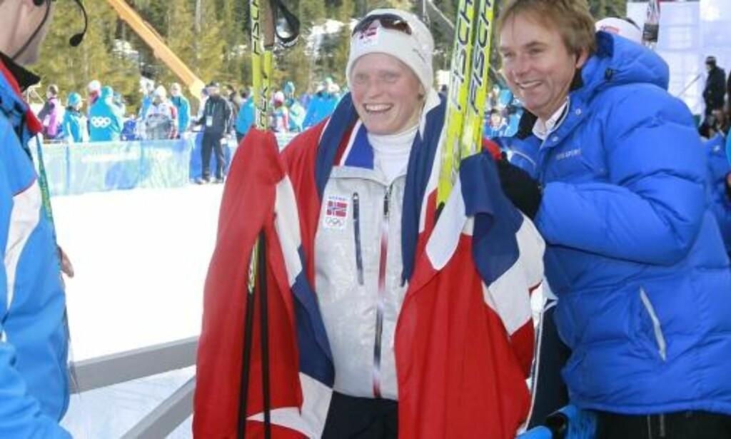 RØRT: Tora Berger vil for alltid være i sportshistoriebøkene etter OL-gullet. Foto: Heiko Junge / Scanpix