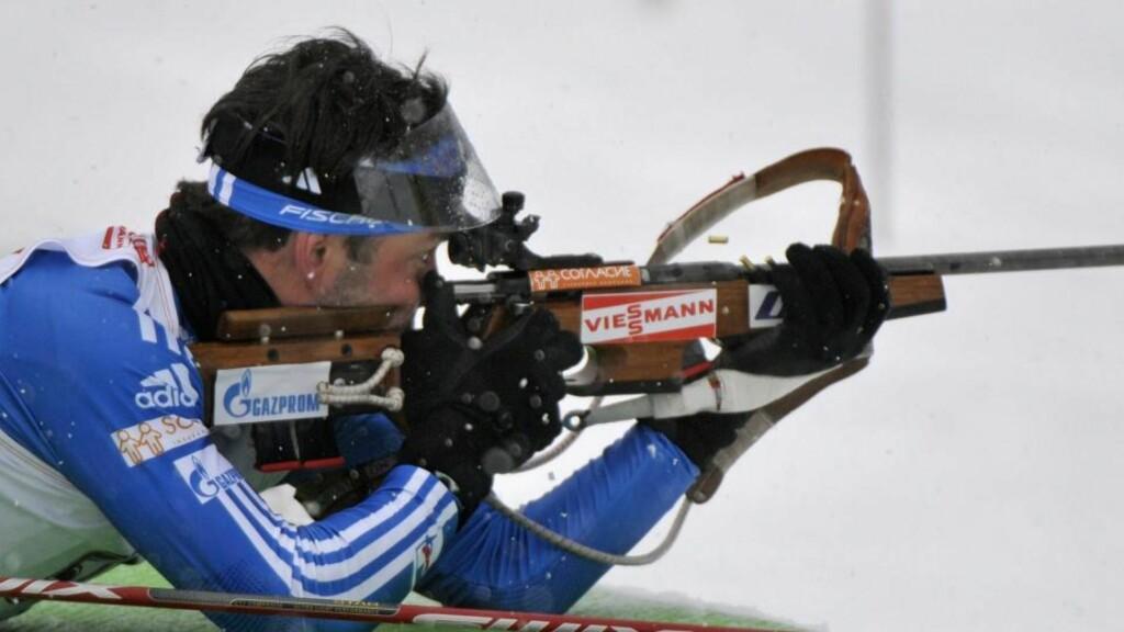 UHELDIG: Nikolaj Kruglov var den siste trusselen mot Emil Hegle Svendsen og Ole Einar Bjørndalen da alt gikk galt for ham.Foto: SCANPIX/EPA/ROBERT PARIGGER