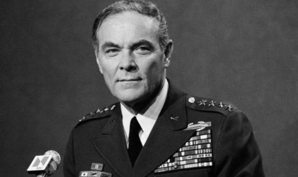 BILDET FRA 1978:  General Alexander Haig på en pressekonferanse i Pentagon.  Foto: SCANPIX/AP