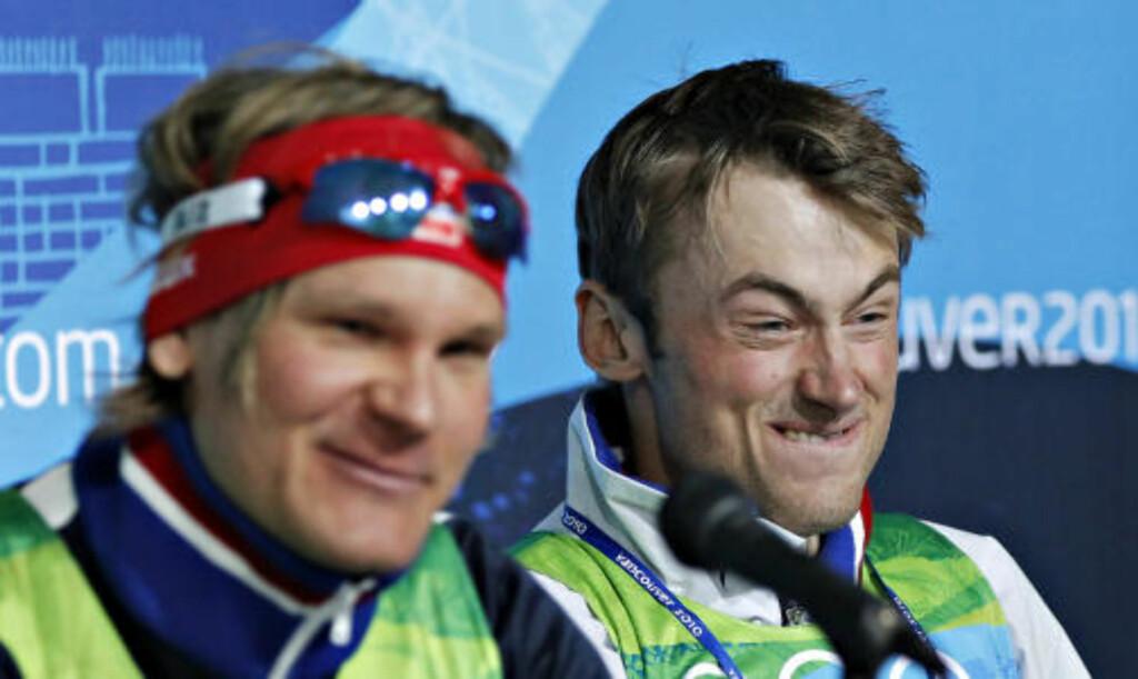 I KJEMPEHUMØR: Petter Northug så direkte søvnig ut da han stilte på pressekonferanse etter bronsen på klassisk sprinten. I går så han slik ut.   Foto:ARNT E. FOLVIK