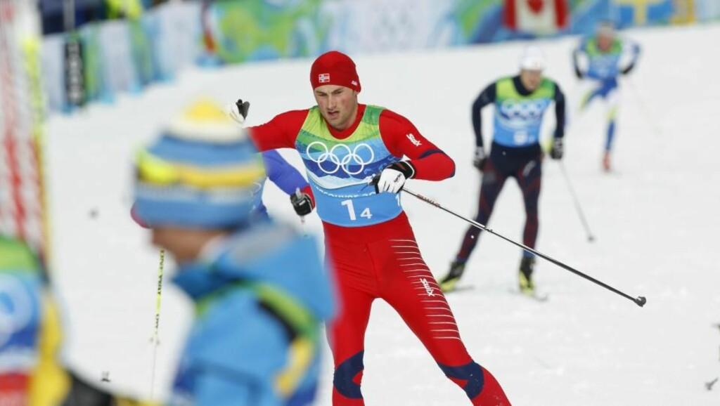 ENKELT: Petter Northug var suveren i kampen om sølvet, men det hadde nok smakt enda bedre å kunne spurte om gullet. Foto: Lise Åserud / Scanpix