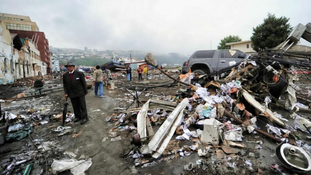 TO NORDMENN ble letter skadd i monsterskjelvet som rammet Chile på lørdag, opplyser UD. Foto: AFP/MARTIN BERNETTI/SCANPIX