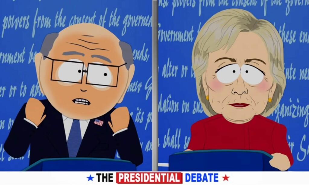 SJOKK: Presidentvalget i USA skapte også sjokk i den fiktive byen South Park. Her er Hillary Clinton presentert som «Turd Sandwich» av skaperne bak «South Park». FOTO: South Park studios/YouTube