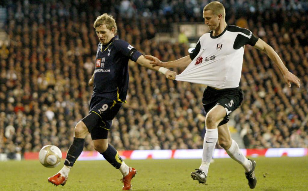 HOLDT NULLEN: Brede Hangeland og Fulham holdt nullen mot Tottenham og Roman Pavljutsjenko, men det hjalp lite da vertene ikke scoret noen mål selv. Foto: Scanpix