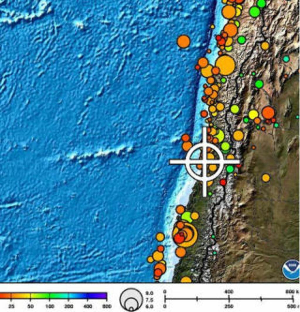 VED KYSTEN: Chile er rammet av flere etterskjelv. Skadene etter dagens skjelv er ikke kjent. Skjermdump: NOAA