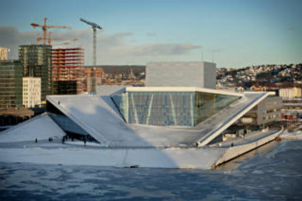 OPERAEN 2010: Det er ikke sikkert du legger merke til opera-flassingen om du avlegger operaen i Bjørvika et besøk. Skadene vender nemlig ut mot sjøen.  FOTO: LARS EIVIND BONES