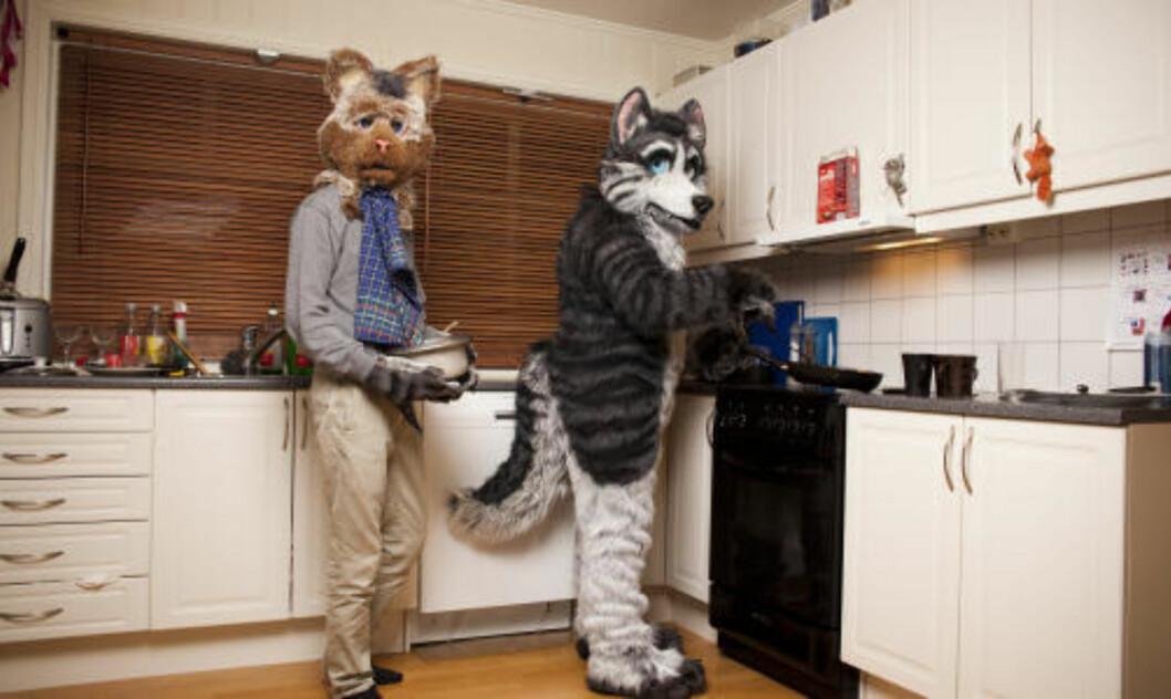 <strong>DISKER OPP:</strong> Dax og Dan trakterer furrygjestene på en fest på Gjøvik. Foto: SIGURD FANDANGO/DAGBLADET