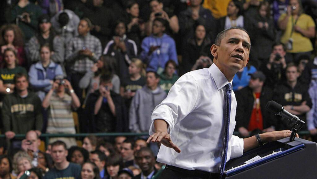 TROR PÅ FLERTALL:   USAs president Barack Obama holdt i dag en tale i Fairfax hvor han forsikret om at hans omstridte helsereform endelig vil bli vedtatt i helgen. Foto: REUTERS/Scanpix