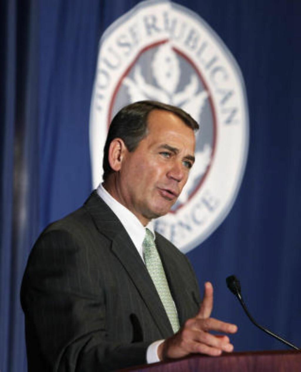 LOVER OMKAMP: Republikanernes leder i Representantenes hus, John Boehner, sier partiet vil fortsette kampen mot helsereformen. Det skal holdes mellomvalg i november, og dersom Republikanerne da vinner flertall i Kongressen, vil de forsøke å få loven opphevet. Foto: REUTERS / Yuri Gripas / SCANPIX