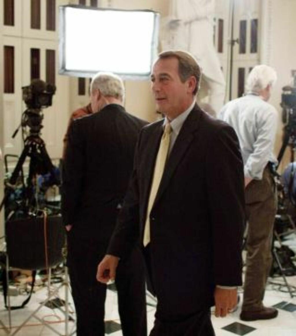 INNBITT MOTSTANDER:  Republikaneren John Boehner fra Ohio var helsereform-motstandernes hovedtalsmann i nattens debatt. FOTO: AP/SCANPIX.