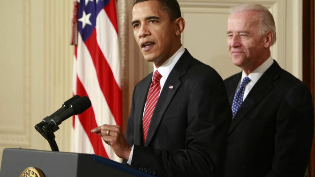 TAKKET:  En time etter nattens ja i Representantenes hus, kom president Barack Obama med en fem minutter lang takk fra Det hvite hus, sammen med visepresident Joe Biden. FOTO: AP/SCANPIX.