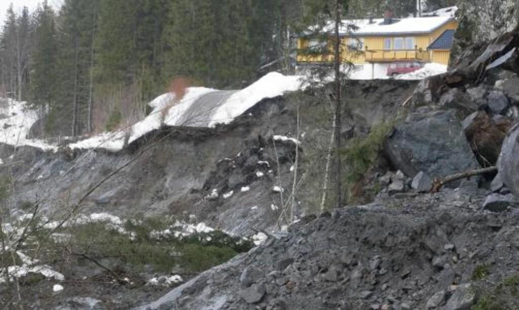 HER GIKK RASET: 13. mars i fjor ble seks hus tatt av leirraset i Kattmarka i Namsos. FOTO: HANS ARNE VEDLOG