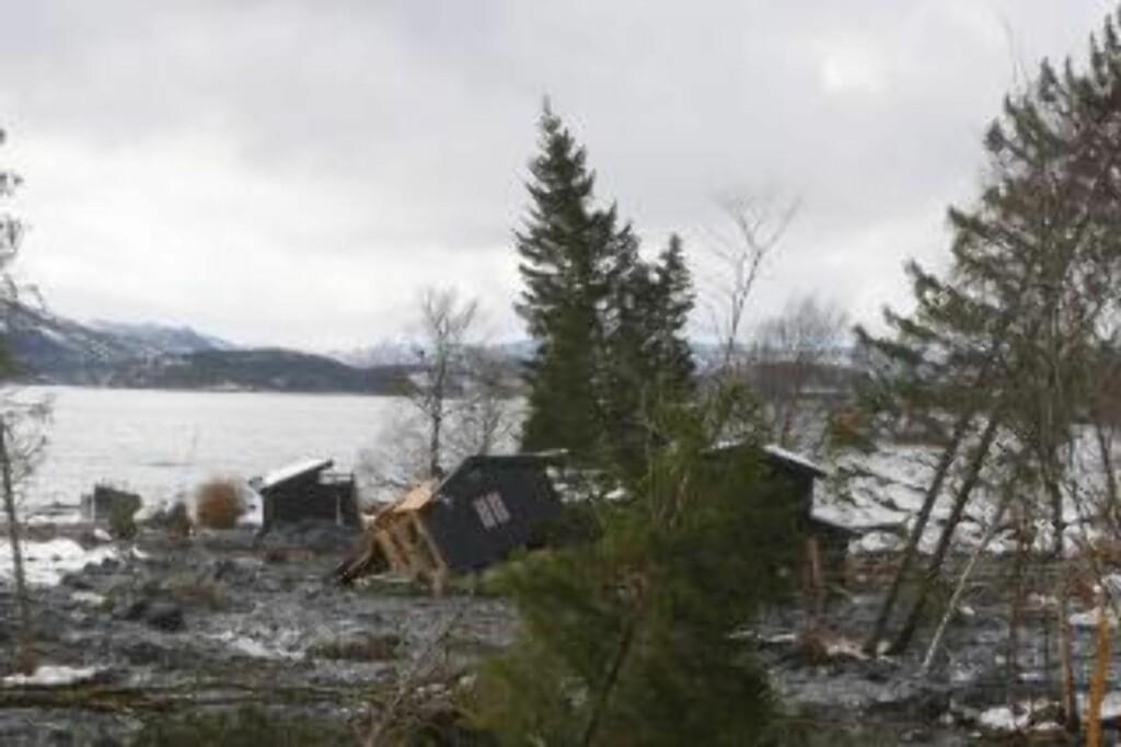 STORE ØDELEGGELSER: Flere hus ble skylt på sjøen da leirmassene raste ned fjellsiden i Kattmarka. Fortsatt står trær på skjeve og området er ikke ryddet, ifølge beboere. FOTO: HANS ARNE VEDLOG