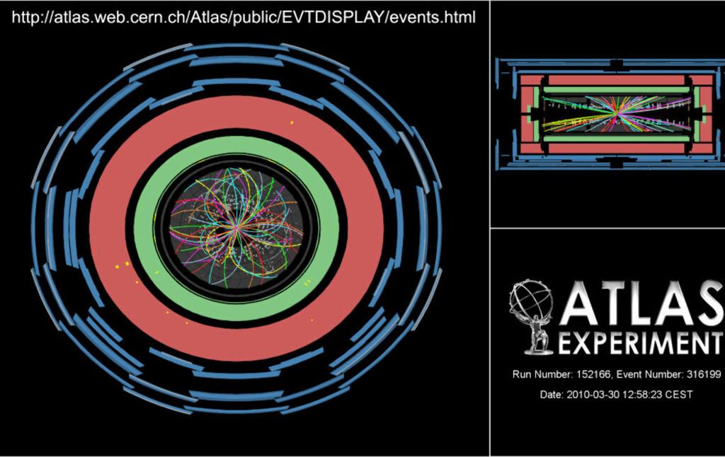 HISTORISK: Den aller første kollisjonen på rekordenergien 7 teraelektronvolt (TeV) registrert av Atlas-detektoren ved LHC. Foto: CERN