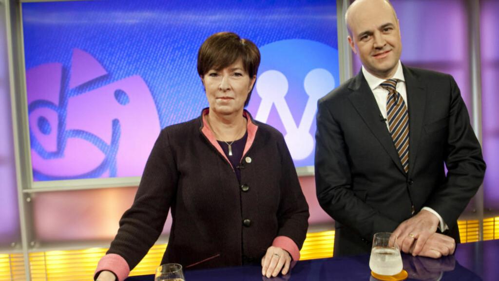 LEDER: Sveriges statsminister Fredrik Reinfeldt har et forsprang på meningsmålingene foran opposisjonslederen Mona Sahlin.  Foto: MAJA SUSLIN / Scanpix