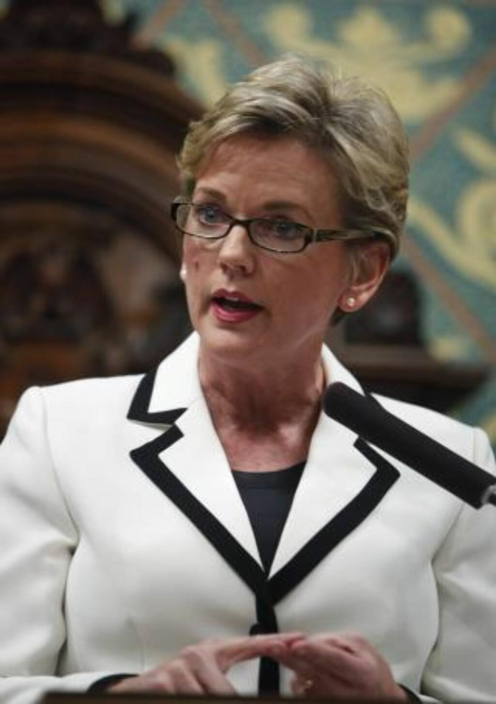 TRUET: Michigan-guvernør Jennifer Granholm. Truslene etterforskes nå av FBI. Foto: AP/Scanpix