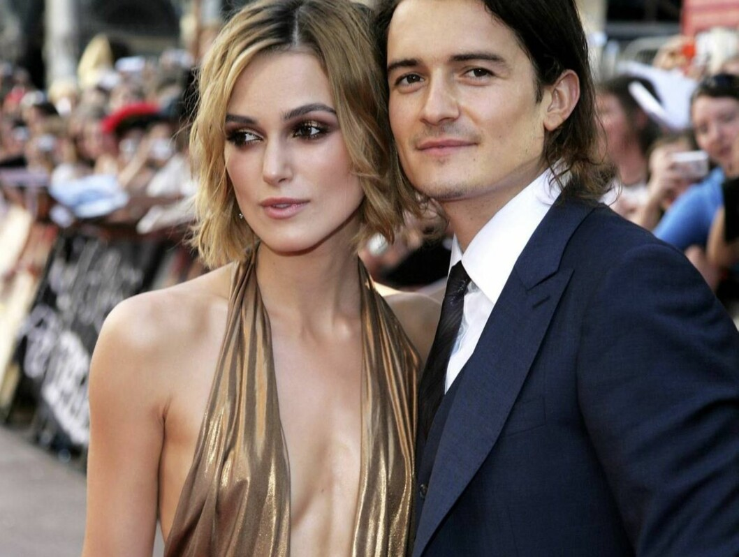 <strong>PENT PAR:</strong> Keira Knightley og Orlando Bloom poserer sammen på Pirates-premiere. Foto: All Over Press
