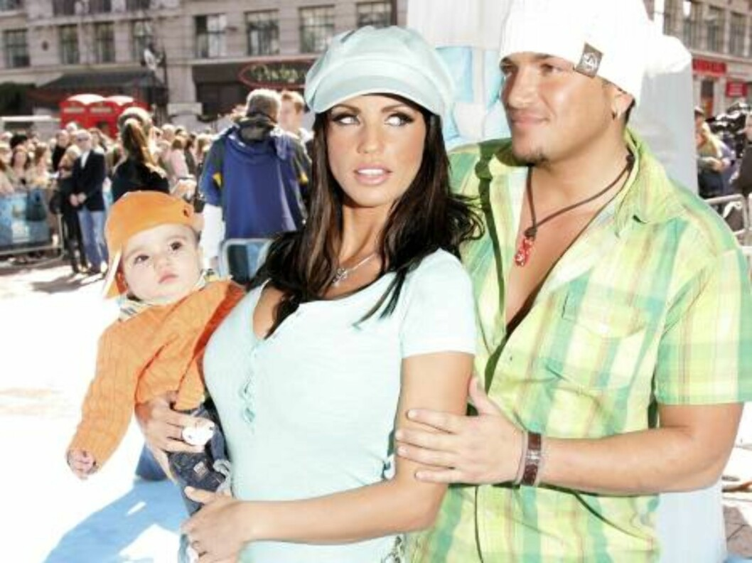 <strong>LONDON - APRIL 02:</strong>  (UK TABLOID NEWSPAPERS OUT)  Model Jordan, her husband, singer Peter Andre, and their son Junior arrive at the UK Premiere of 'Ice Age 2: The Meltdown' at the Empire Leicester Square on April 2, 2006 in London, England.  (Photo by Dave Foto: All Over Press