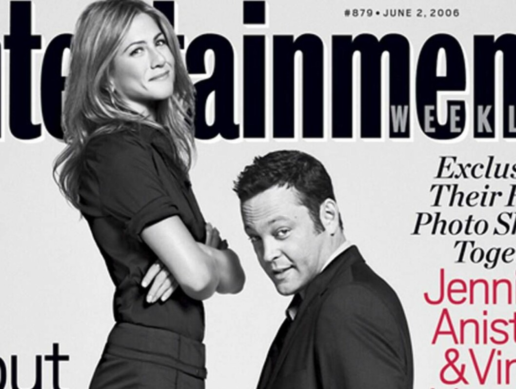 <strong>FORSIDESTOFF:</strong> Det har vært mye spekulasjoner rundt forholdet mellom Jennifer og Vince. Her stiller de opp på en amerikanske forside. Foto: AP/Scanpix