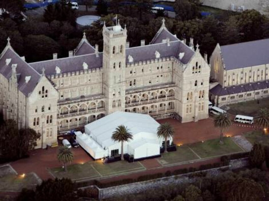 An aerial view of the Cardinal Cerretti Chapel at the St Patrick's Estate in Sydney where Oscar winning actress Nicole Kidman married country music star Keith Urban Sunday, June 25, 2006. Around 230 guests watched the pair exchange vows at the gothic-styl Foto: AP/Scanpix