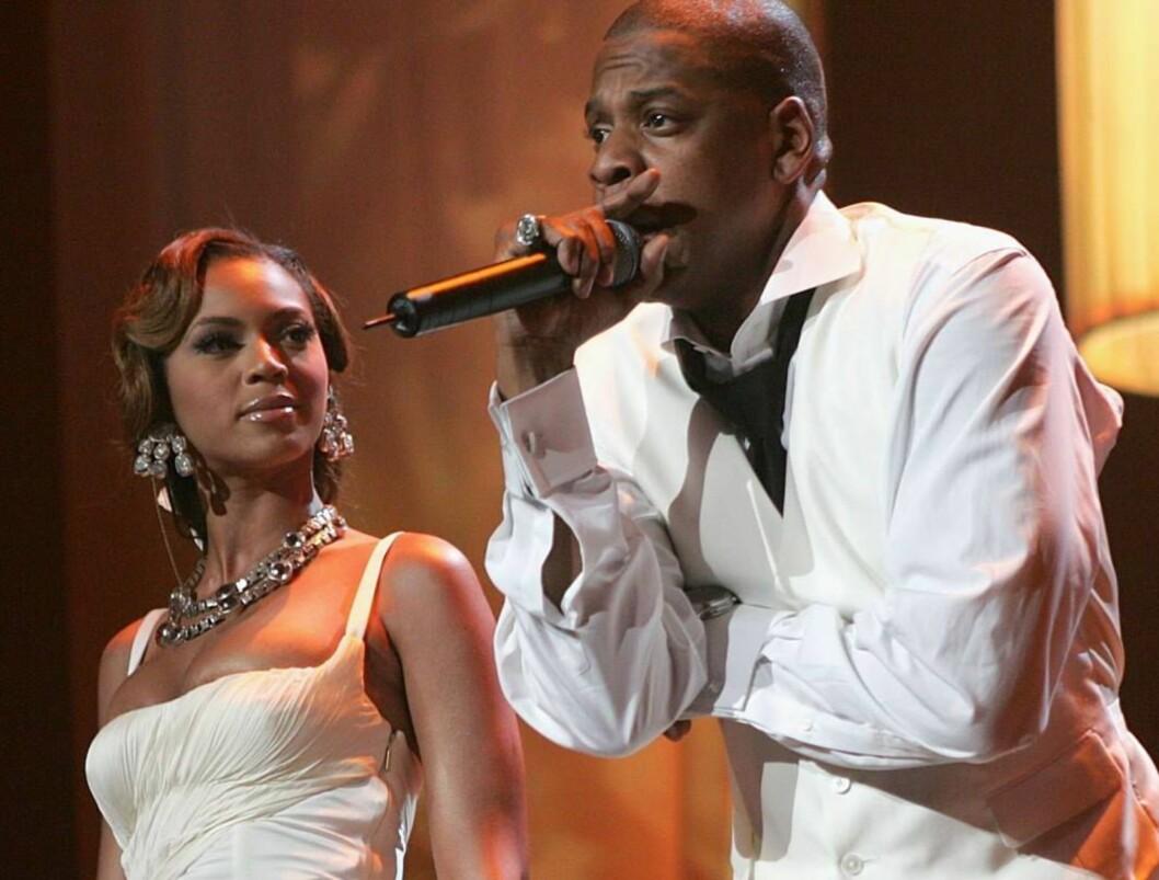 <strong>SAMSTEMT:</strong> Samboerne Beyoncé og Jay-Z sang sammen i Radio City Music Hall i New York. Foto: All Over Press
