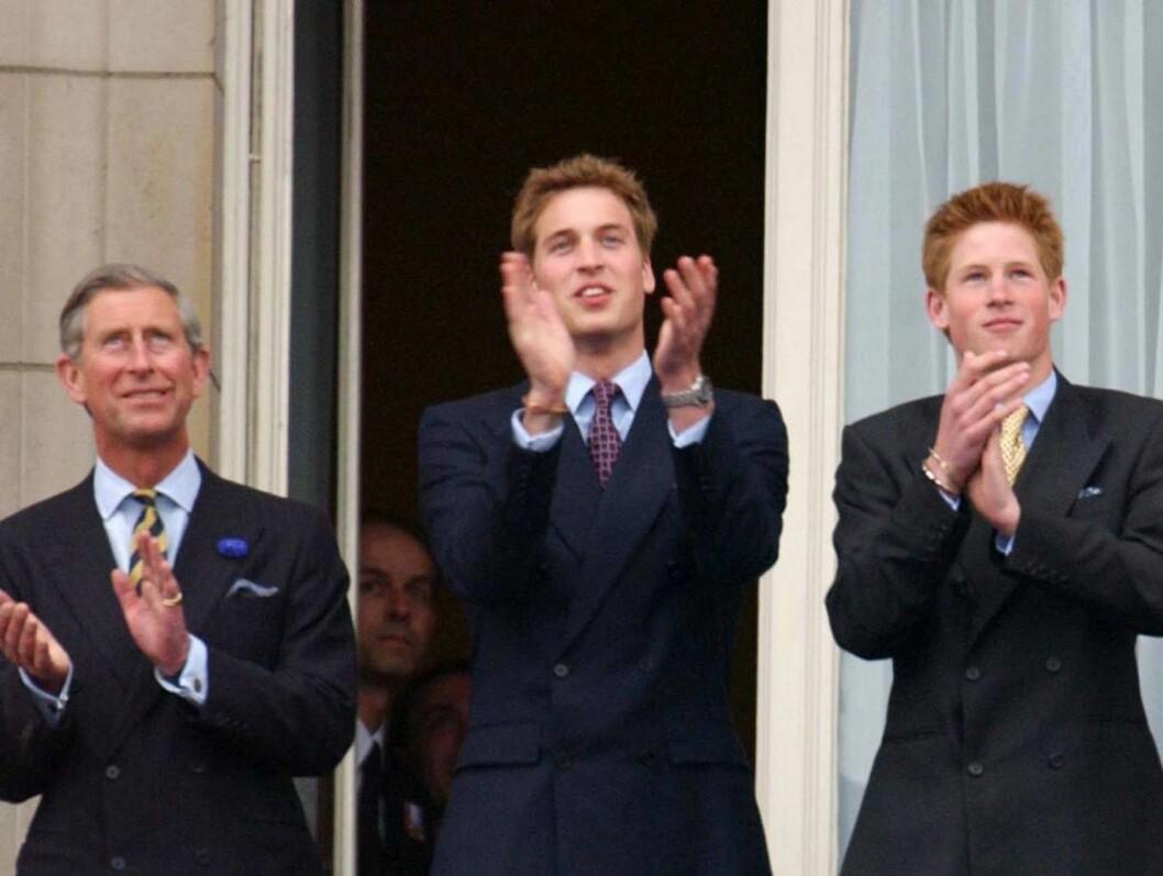 FAR OG SØNNER: Charle, William og Harry. Foto: All Over Press