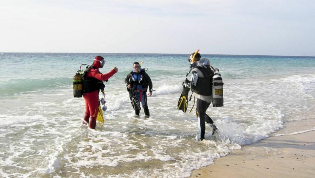DYKKERE: Dykkere på vei ut fra Playa de Buthondo på Jandia på Fuerteventura.