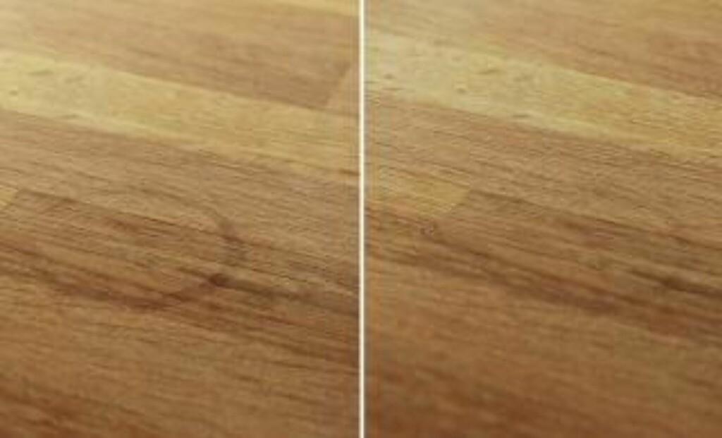FØR OG ETTER: Etter noen minutter med en halv sitron, er flekken nesten borte. Foto: Øivind Lie