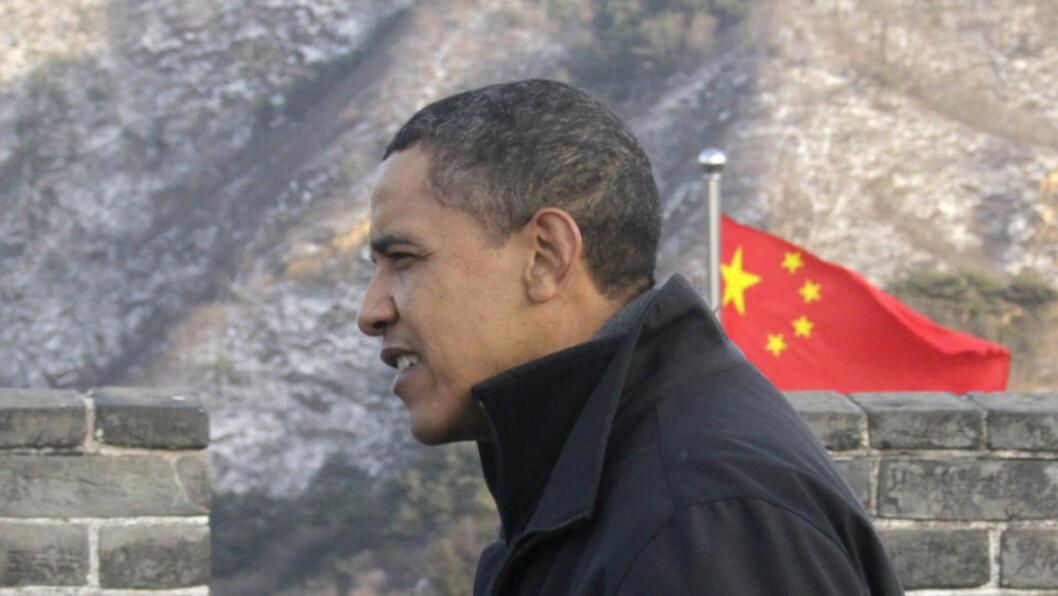 <strong>PÅ GEJNSYN:</strong>  USAs president Barack Obama da han gjestet Kina og den kinesiske mur i november i fjor. Siden den gang har det vært flere skjær i sjøen for forholdet mellom USA og Kina. I neste uke kommer Kinas president til Washington. Foto: REUTERS/Jason Lee/SCANPIX